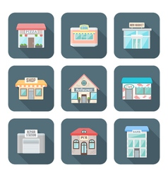 Colored flat style various buildings icons set vector