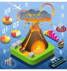 Isometric volcano eruption infographic vector