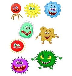 Virus cartoon collection set vector