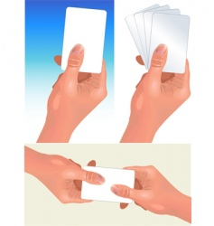 Hands with cards vector