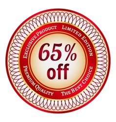 Label on 65 percent discount vector