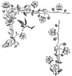 Antique floral frame engraving vector