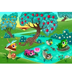 Funny animals on a river in the wood vector