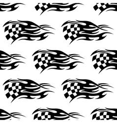 Checkered black and white flag vector