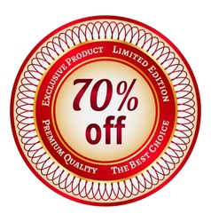 Label on 70 percent discount vector