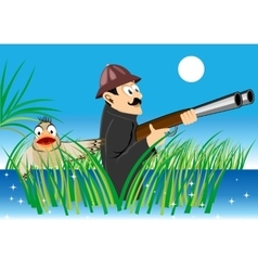 Hunter with a gun and duck vector