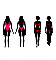 Silhouettes of women in bathing vector