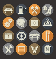 Auto service icons set colors plate vector