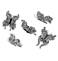 Set of ornate patterned calligraphic butterflies vector