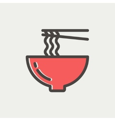 Noodles bowl with a pair of chopsticks thin line vector