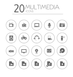 Simple thin multimedia icons collection on white vector
