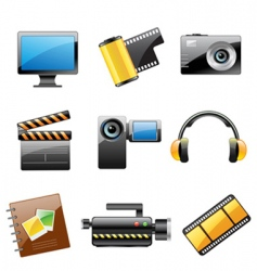 Photo and video icon set vector