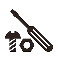 Screwdriver nut and bolt icon vector