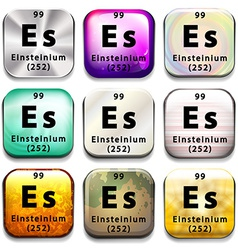A periodic table showing einsteinium vector