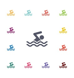 Swim flat icons set vector