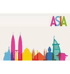 Diversity monuments of asia famous landmark colors vector