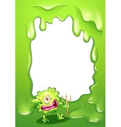 A green border design with a green death monster vector
