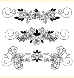 Drawing flowers vignette vector