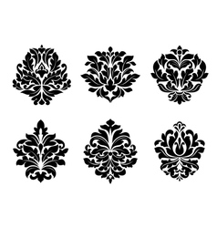 Six different floral arabesque designs vector