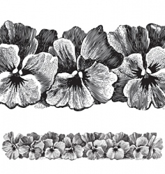 Antique pansies border engraving vector