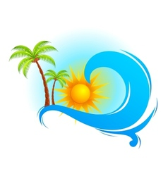 Sea wave with palm tree vector