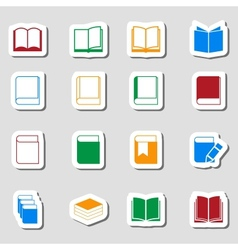Color book icon set as labes vector