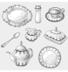Hand drawn doodle sketch kitchen porcelain vector