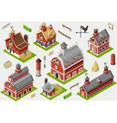 Isometric old building - american barn set tiles vector
