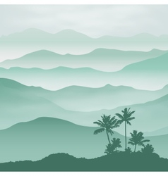 Mountains with palm tree in the fog vector