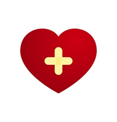 Love heart with plaster in cross shape vector