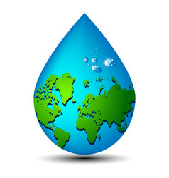 Water drop earth ecology concept vector