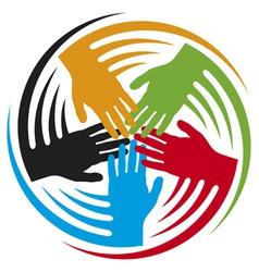 Teamwork hands icon vector