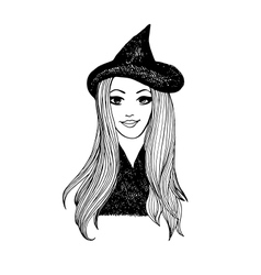 Attractive smiling witch halloween sketch vector