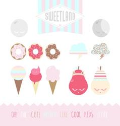 Set of cute elements vector