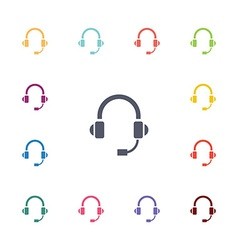 Headphones flat icons set vector