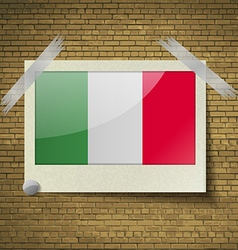 Flags italy at frame on a brick background vector