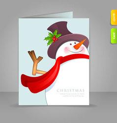 Xmas card snowman vector
