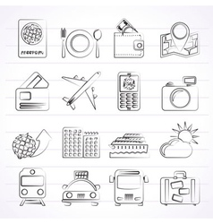 Transportation and vacation icons vector