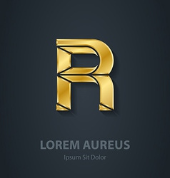 Letter r elegant gold font template for company vector