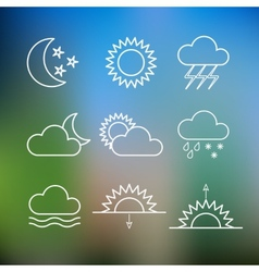 Set of weather flat style icons vector