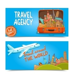 Around the world travel agency horizontal banners vector