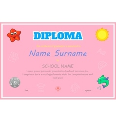 Preschool kids diploma certificate background vector