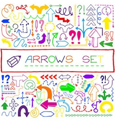 Hand drawn colorful arrow icons set vector