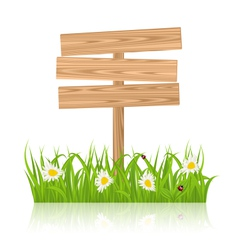 Wooden signboard for guidepost with field green vector