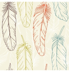 Seamless pattern of hand drawn feathers vector