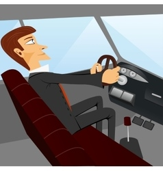 Business man driving a car vector