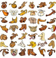 Cartoon funny dogs heads set vector