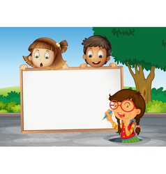 Kids and white board vector