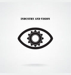 Creative gear with eye silhouette symbol vector