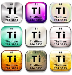 A periodic table showing thallium vector